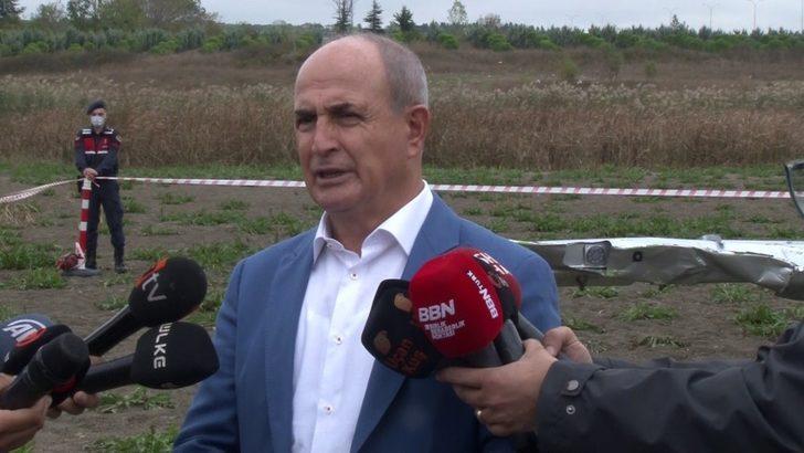 Başkan Akgün, uçağın düştüğü alanda incelemelerde bulundu