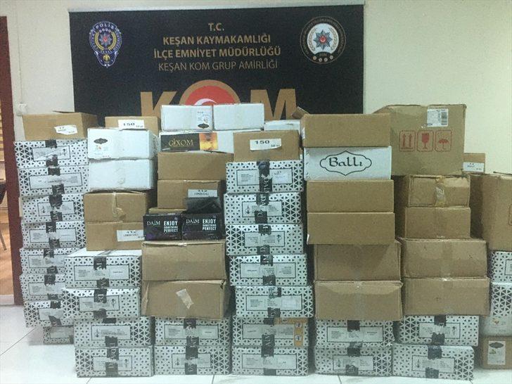 Edirne'de 12 bin 450 paket kaçak nargile tütünü ele geçirildi