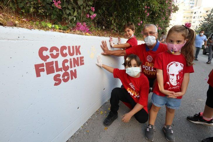 Çocuk felcine karşı farkındalık için duvar boyadılar