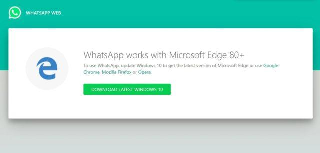 WhatsApp Web Microsoft Edge