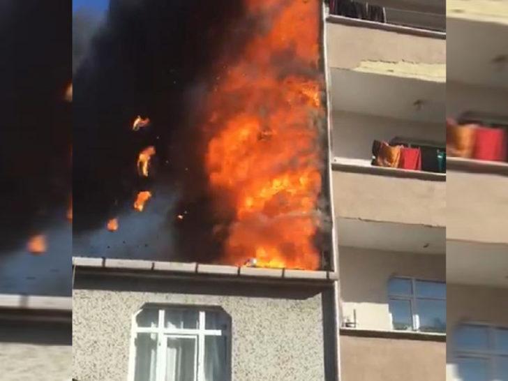 İstanbul'da korku dolu anlar! Binanın çatısı alev alev yandı