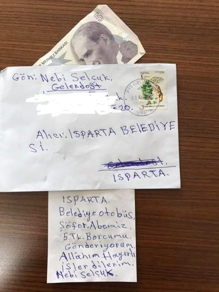 Otobüse binen vatandaş, yanında parası olmayınca ücreti postayla gönderdi