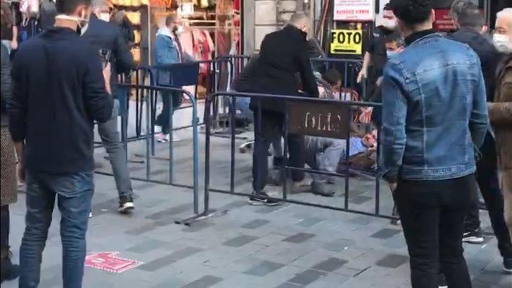 İstiklal Caddesi'nde sosyal mesafe kavgası kamerada