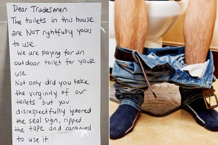 Tuvaletini kullanan tamircilere yazdığı not viral oldu