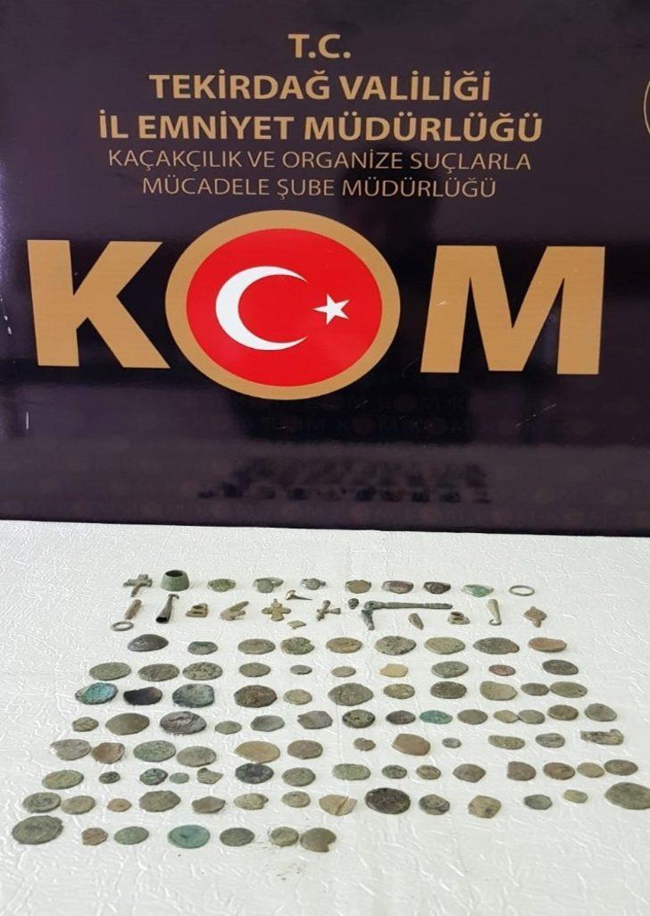 Tekirdağ'da Roma ve Bizans dönemlerine ait 117 adet parça ele geçirildi