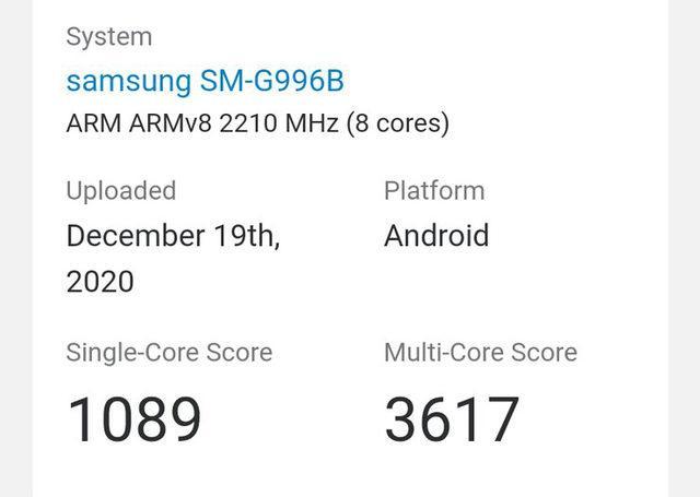 Exynos'u Samsung Galaxy S21 Geekbench