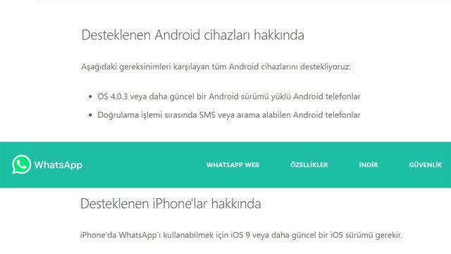 WhatsApp iOS ve Android