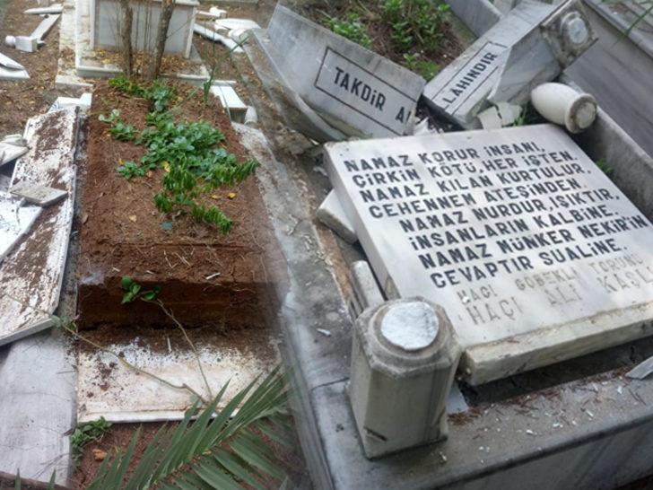 Mezarlıklara zarar verip Türk bayraklarını söktü! İfadesi 'pes' dedirtti