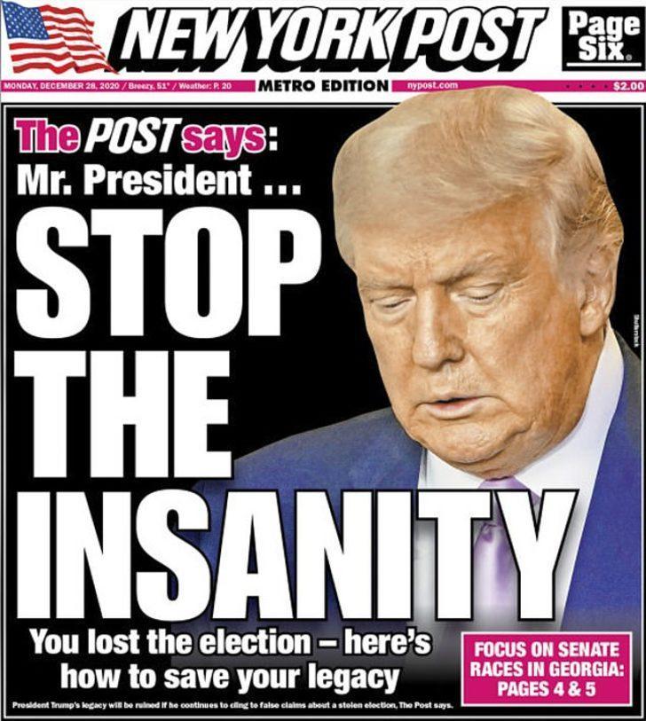 Trump'ı destekleyen gazeteden 'Deliliği bırak' manşeti!