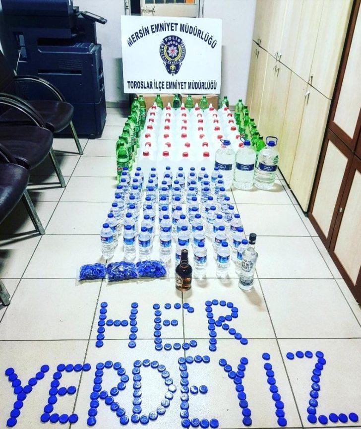 Mersin'de yılbaşı öncesi 246 litre sahte etil alkol ele geçirildi