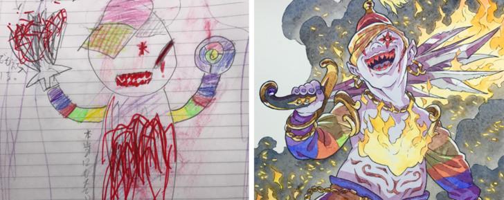 Fransız sanatçı Thomas Romain oğullarının karalamalarını anime karakterine dönüştürdü