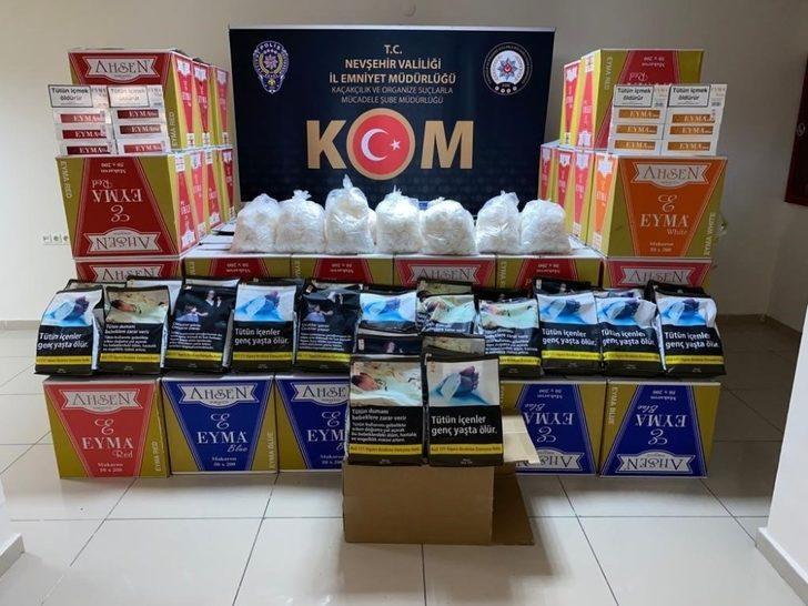 Nevşehir'de 670 bin adet makaron, 30 kilo tütün ele geçirildi