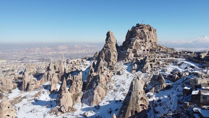 Kar altında bir masal diyarı: Kapadokya