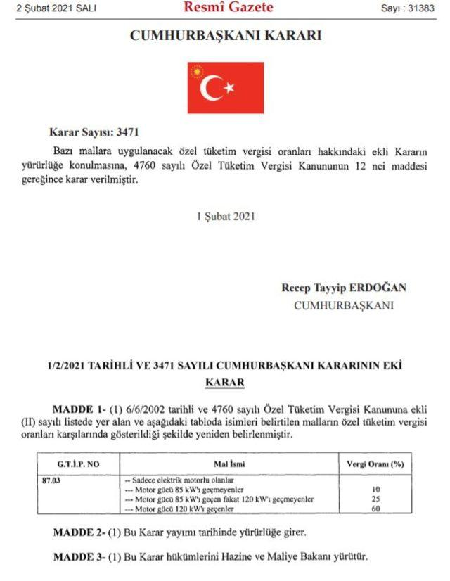 resmi gazete ÖTV