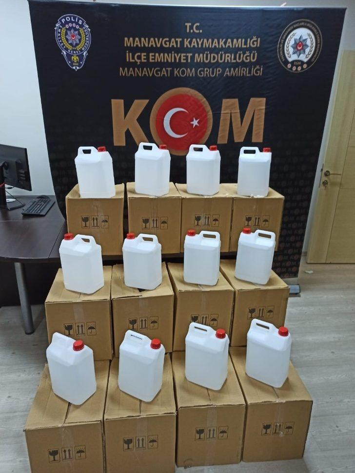 Manavgat'ta 420 litre sahte alkol ele geçirildi