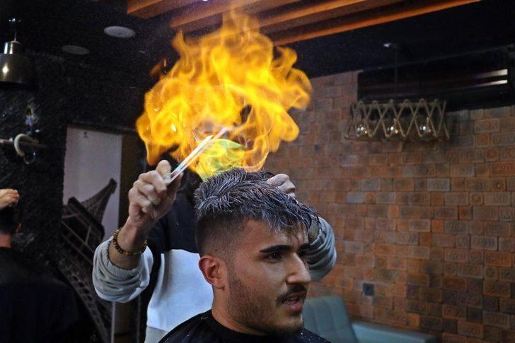 Antalya'da ateşle yapılan sıra dışı tıraş
