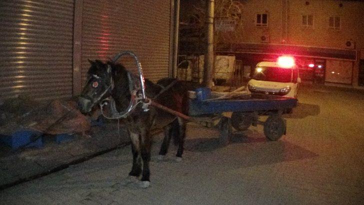 Devriye gezen polislerin dur ikazına uymayıp at arabasını bırakıp gittiler