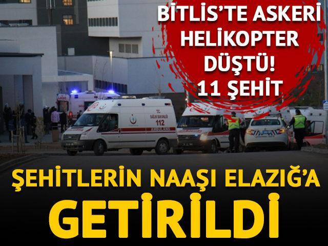 Bitlis'te askeri helikopter düştü,11 şehit! Elazığ'da tören düzenlenecek