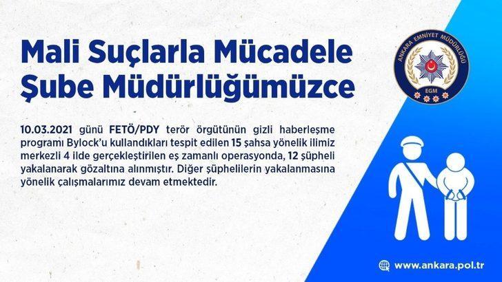 Ankara merkezli FETÖ operasyonunda 12 ByLock kullanıcısı yakalandı