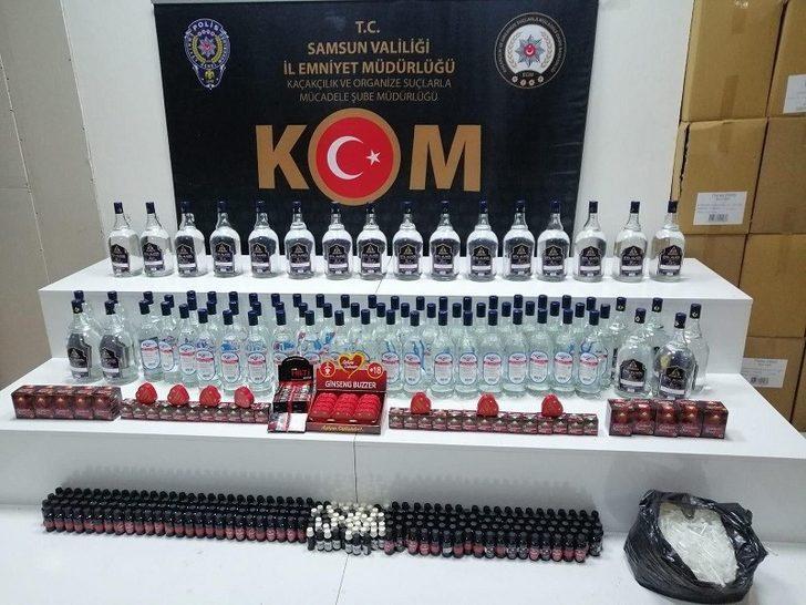 Samsun'da 108 litre etil alkol ve 94 adet cinsel içerikli ürün ele geçirildi