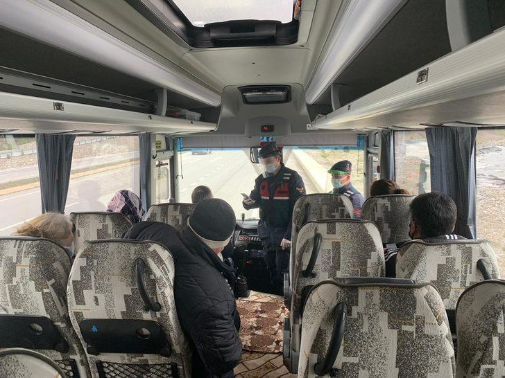 Testi pozitif çıkan kişi yolcu otobüsünde yakalandı