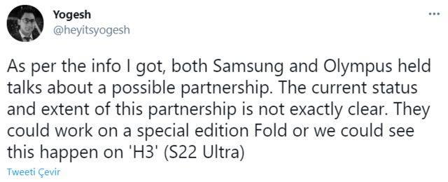 Samsung Olympus tweeti