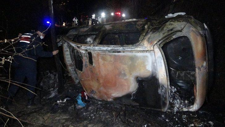 Samsun'da şarampole yuvarlanan otomobil alev aldı! Korkunç ölüm