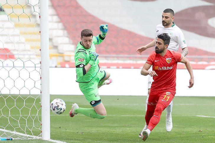 Kayserispor-Konyaspor maçında gol sesi çıkmadı