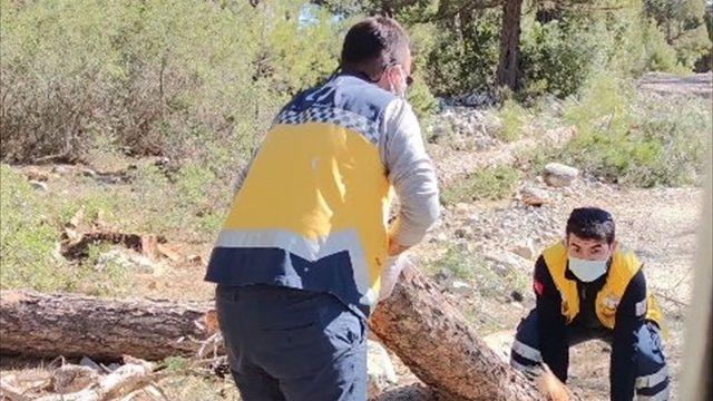Denizli'de hastaya ulaşmak için yoldaki odunları temizleyen sağlık ekibinin çabası kameraya yansıdı