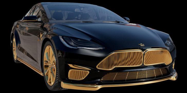 Tesla'nın otomobilini altınla süslediler!