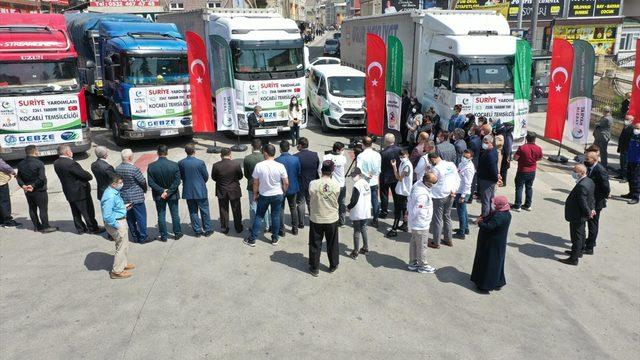 Kocaeli'den İdlib'e 6 tır insani yardım malzemesi gönderildi