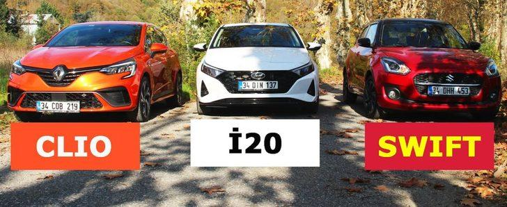 Yeni Hyundai i20 vs Yeni Renault Clio vs Yeni Suzuki Swift | B segmentinin en iyi otomobili hangisi?