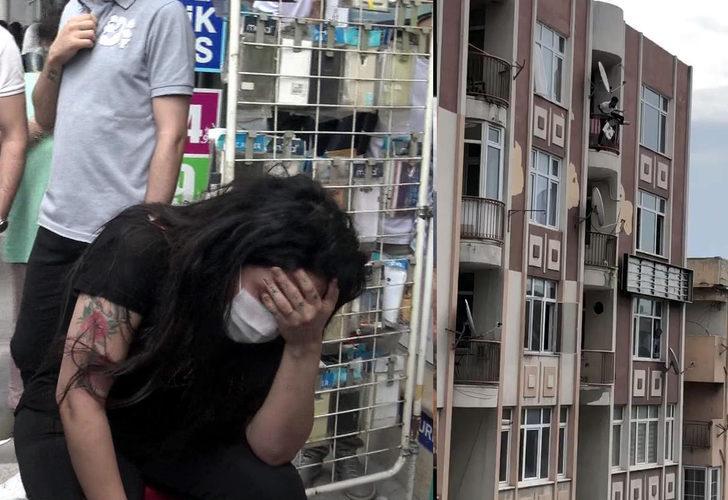 Avcılar'dan dehşet anları! Genç kadını darp edip 5. kattan atlamak istedi