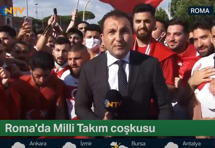 Türkiye-İtalya maçı öncesi NTV muhabirinin zor anları