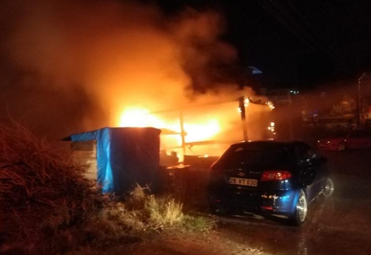Bilecik'te park halindeki otomobil alev alev yandı