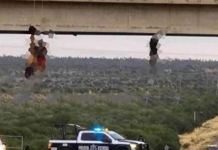 Meksika'da dehşete düşüren anlar! Köprüye çıplak halde astılar