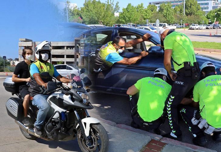 Polisler, öğrenciler için lastikçi bile oldular!
