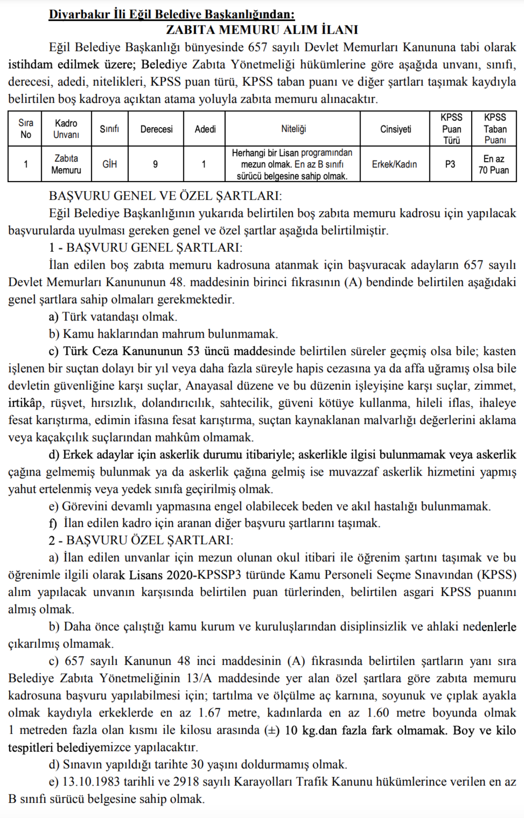 Diyarbakır Eğil Belediyesi Zabıta Memuru Alım İlanı