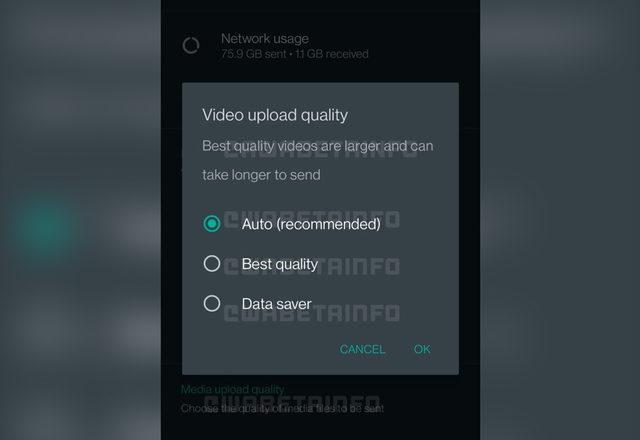 WhatsApp video kalitesi ayarlama