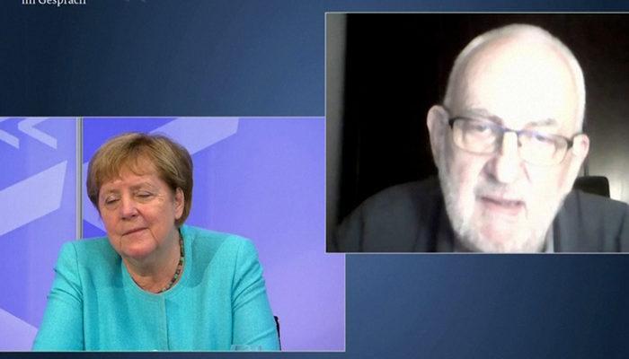 Almanya Başbakanı Merkel'in canlı yayında zor anları! Yorgunluktan gözlerini açamadı