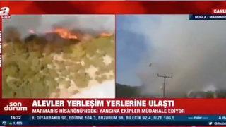 Yangını görüntüleyen A Haber ekibine tepki