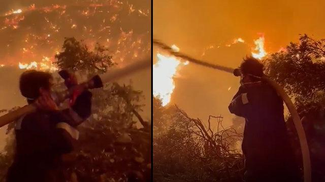 Ünlü oyuncu, Milas'taki yangına en ön safta müdahale ediyor
