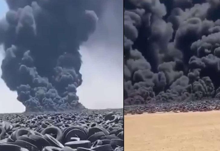 Kuveyt'te dünyanın en büyük lastik çöplüğü ateşe verildi: Gökyüzü siyaha döndü