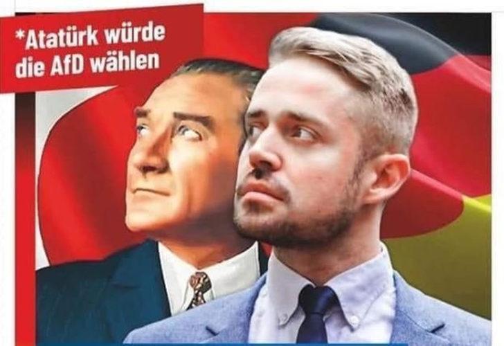 Almanya'da afiş skandalı! Aşırı sağcı partiden Atatürk'e büyük saygısızlık