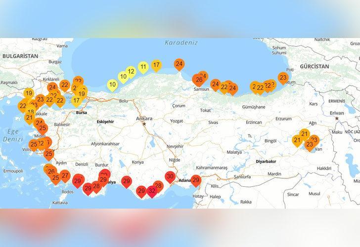 Dikkat çeken harita! Türkiye'nin en soğuk deniz suyu Akçakoca'da ölçüldü