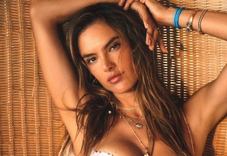 Alessandra Ambrosio yine boş durmadı! Derin göğüs dekoltesiyle görenleri şaşı etti