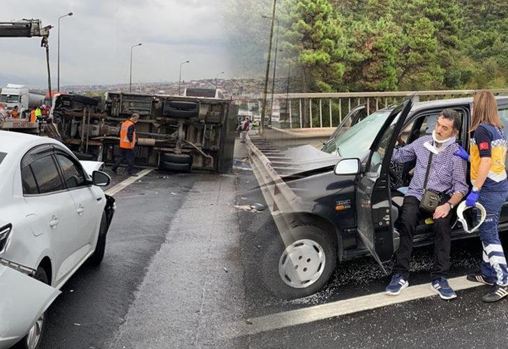 TEM'de zincirleme trafik kazası! Ulaşıma kapanan yol yarım saat sonra açıldı