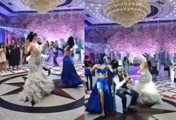 Şoke eden görüntü! Düğüne gelen dansöz damadın etrafında göbek attı