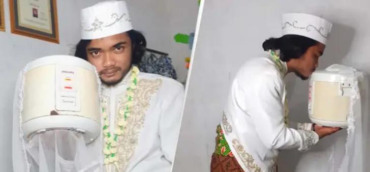 Sosyal medya bu düğünü konuşuyor! Pilav makinasıyla evlenen adam 4 gün sonra boşandı