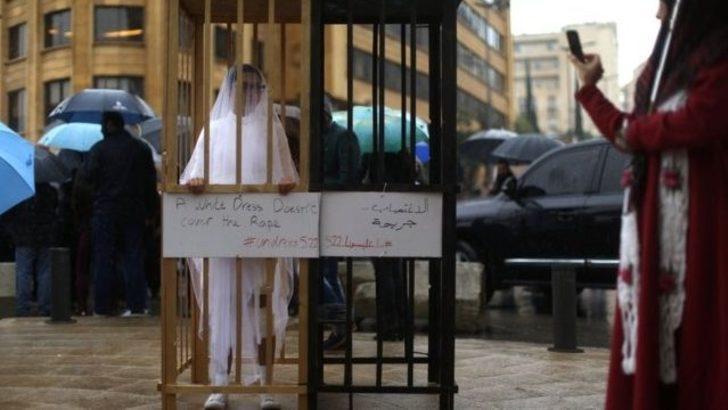 Lübnan ve Ürdün'de 'tecavüz yasası'nı gelinlikle protesto ettiler